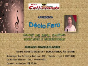 Show Décio Faro - MPB, Samba, Bossa Nova e Internacionais | Bar Cariocando @ Bar Cariocando | Rio de Janeiro | Rio de Janeiro | Brasil